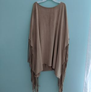 Nordstrom Faux Suede Fringe Poncho top